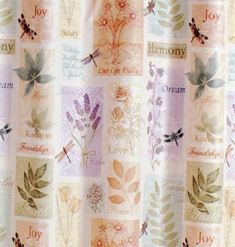 the harmony shower curtain features uplifting expressions of friendship love harmony and joy intertwined with a boxed botanical print in fresh colors