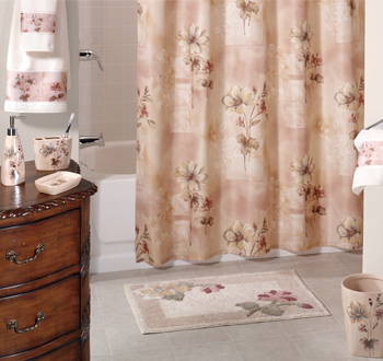 Romance Rose Bath Accessories And Floral Fabric Curtain
