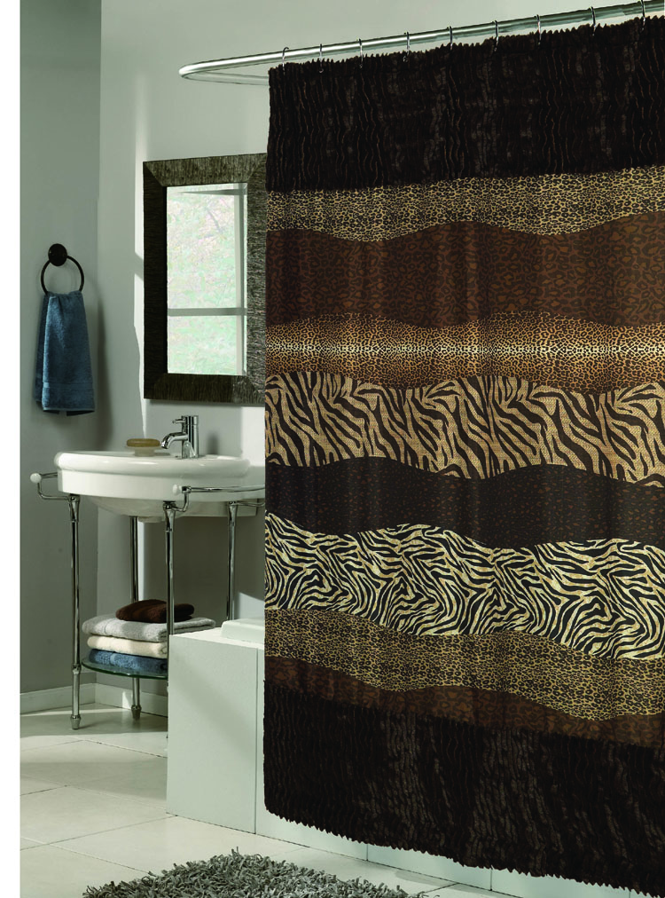 Animal Print Fabric Shower Curtain with Faux Sable Fur Trim ...