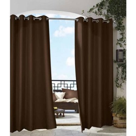 Chocolate Gazebo Solid Grommet Top Indoor Outdoor Curtain Panel