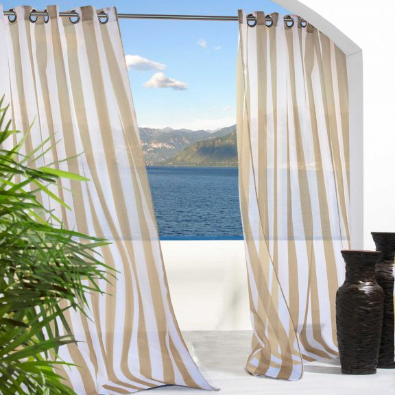 Khaki Escape Stripe Grommet Top Indoor Outdoor Curtain