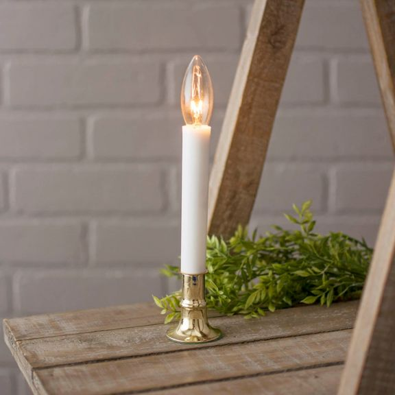 Brass Plated 7in Electric Candle Lamp with On/Off Sensor - Brass Plated 7in Electric Candle Lamp With On/Off Sensor
