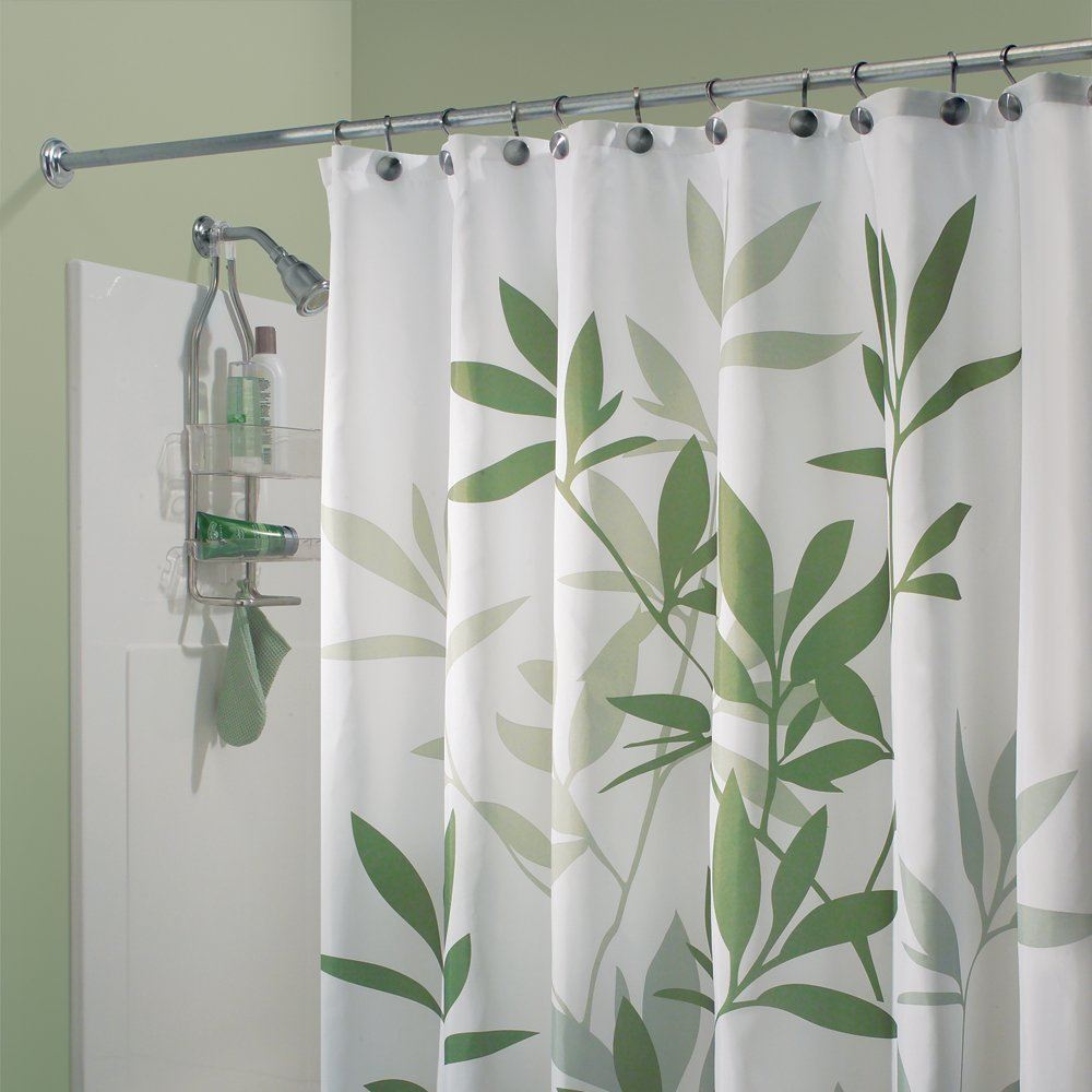 Interdesign Green Leaves Fabric Shower Curtain