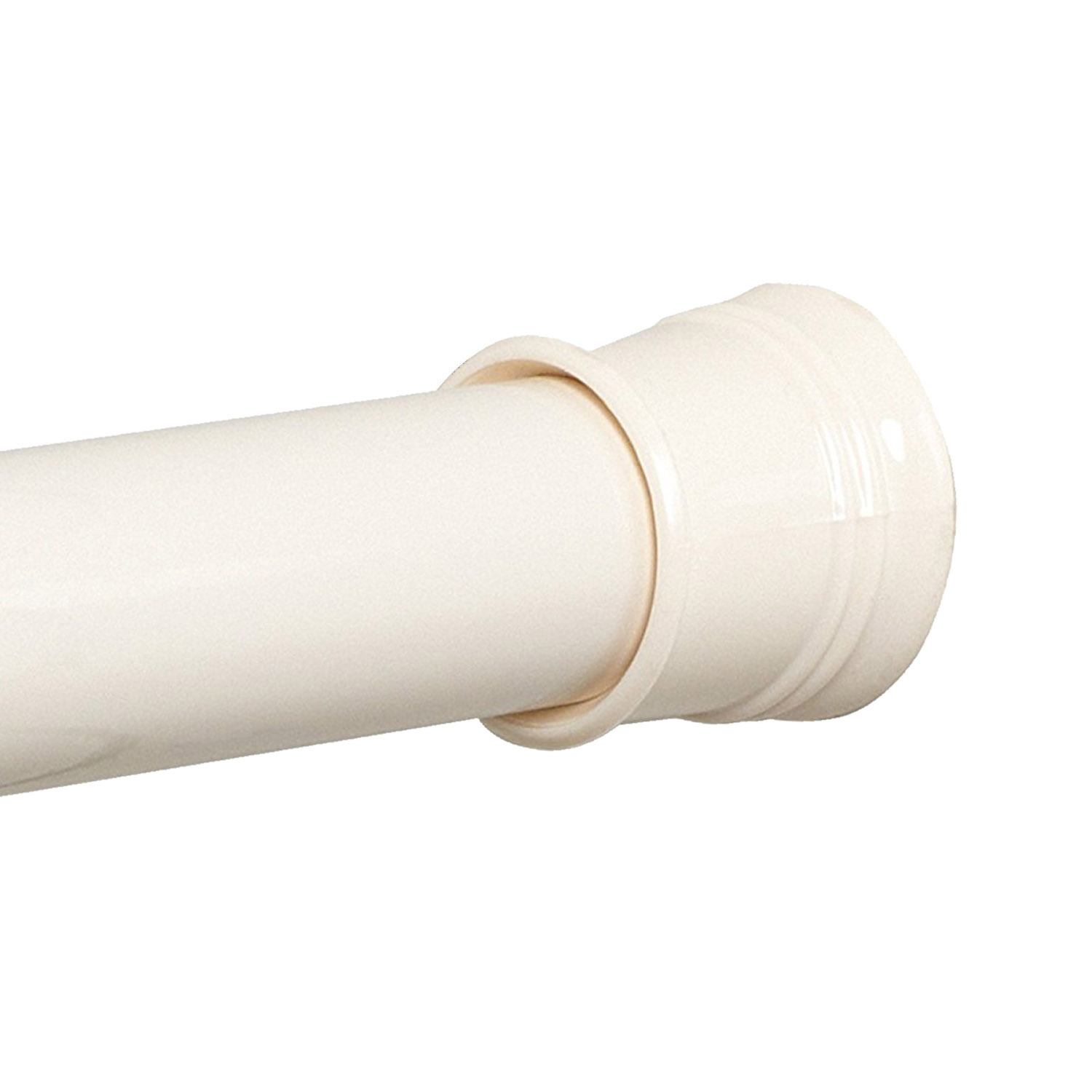 Zenith Twist Tight Shower Curtain Rod In Bone Adjustable To 72 Inches