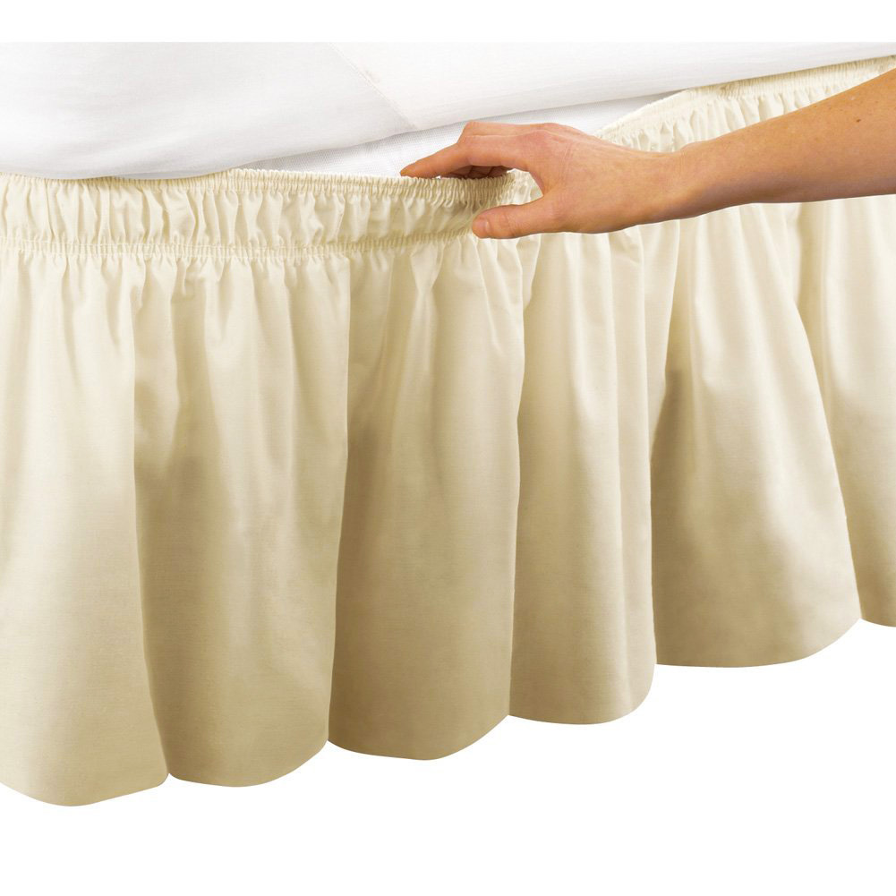 Beige Ruffle Wrap Around Bed Skirt With 18 Inch Drop