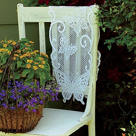Heritage Lace Butterflies 54in White Lace Table Runner