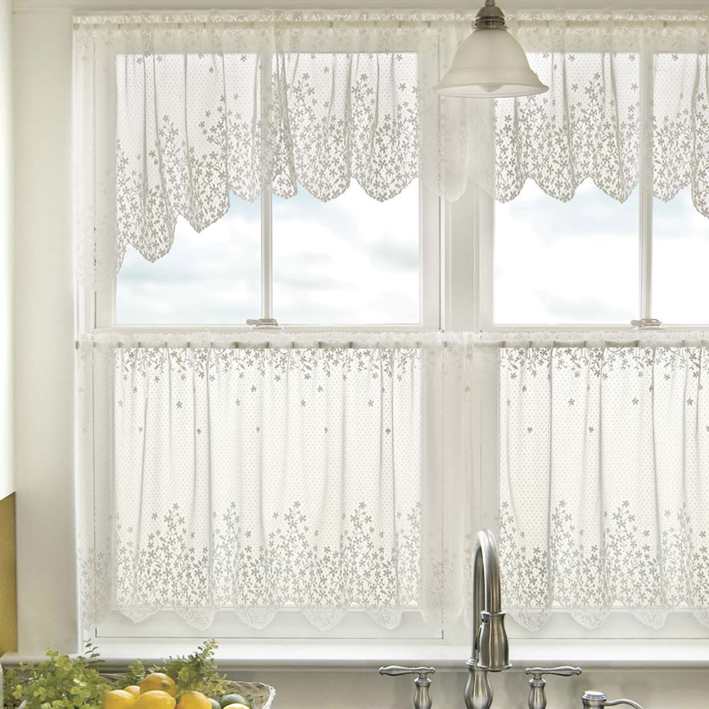 Blossom floral lace kitchen curtains in white and beige for Kitchen window curtains