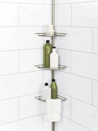 Exceptional Tension Pole Corner Shower Caddy In Satin Nickel