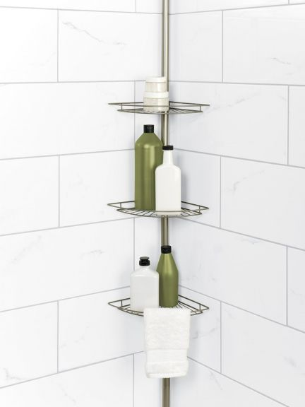 Tension Pole Corner Shower Caddy pole corner shower caddy in satin nickel