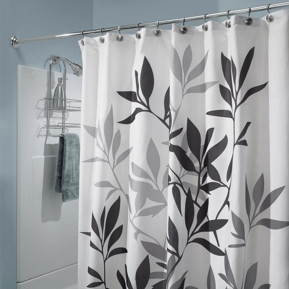 Interdesign Black And Gray Leaves Fabric Shower Curtain