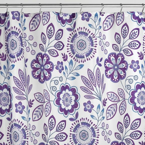 InterDesign Luna Floral Purple Fabric Shower Curtain