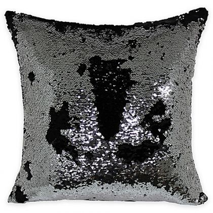 Brentwood Mermaid Sequin Throw Pillow In Silver/Black