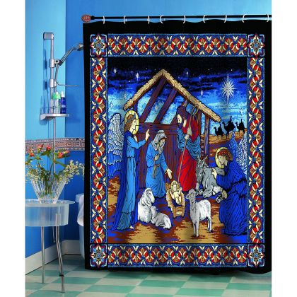 Silent Night Manger Scene Fabric Shower Curtain