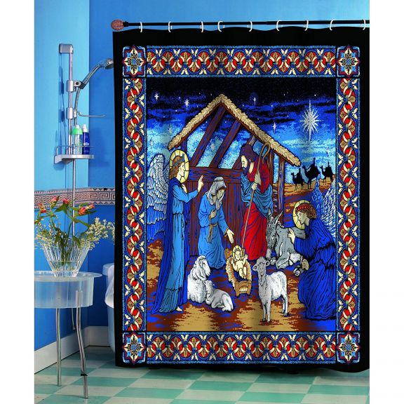 Religious Silent Night Shower Curtain