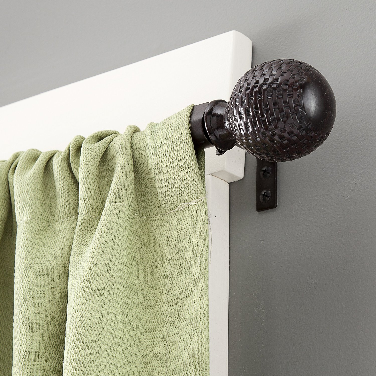 Kenney Woven Ball Weathered Brown Curtain Rod