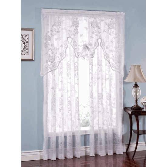 Abbey Rose White Floral Lace Curtain Bedbathhome Com
