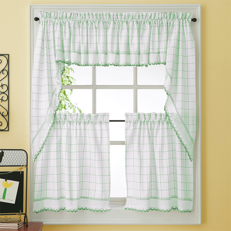 Green Adirondack Woven Kitchen Tier Curtains: BedBathHome.Com