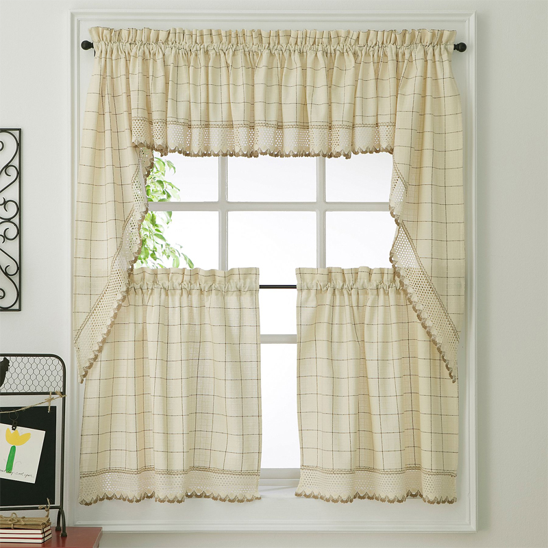 Ecru Toast Adirondack Woven Kitchen Tier Curtains | Altmeyer'S