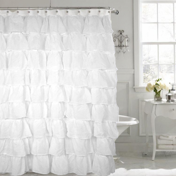 Carmen Crushed Voile Ruffled Tier Shower Curtain