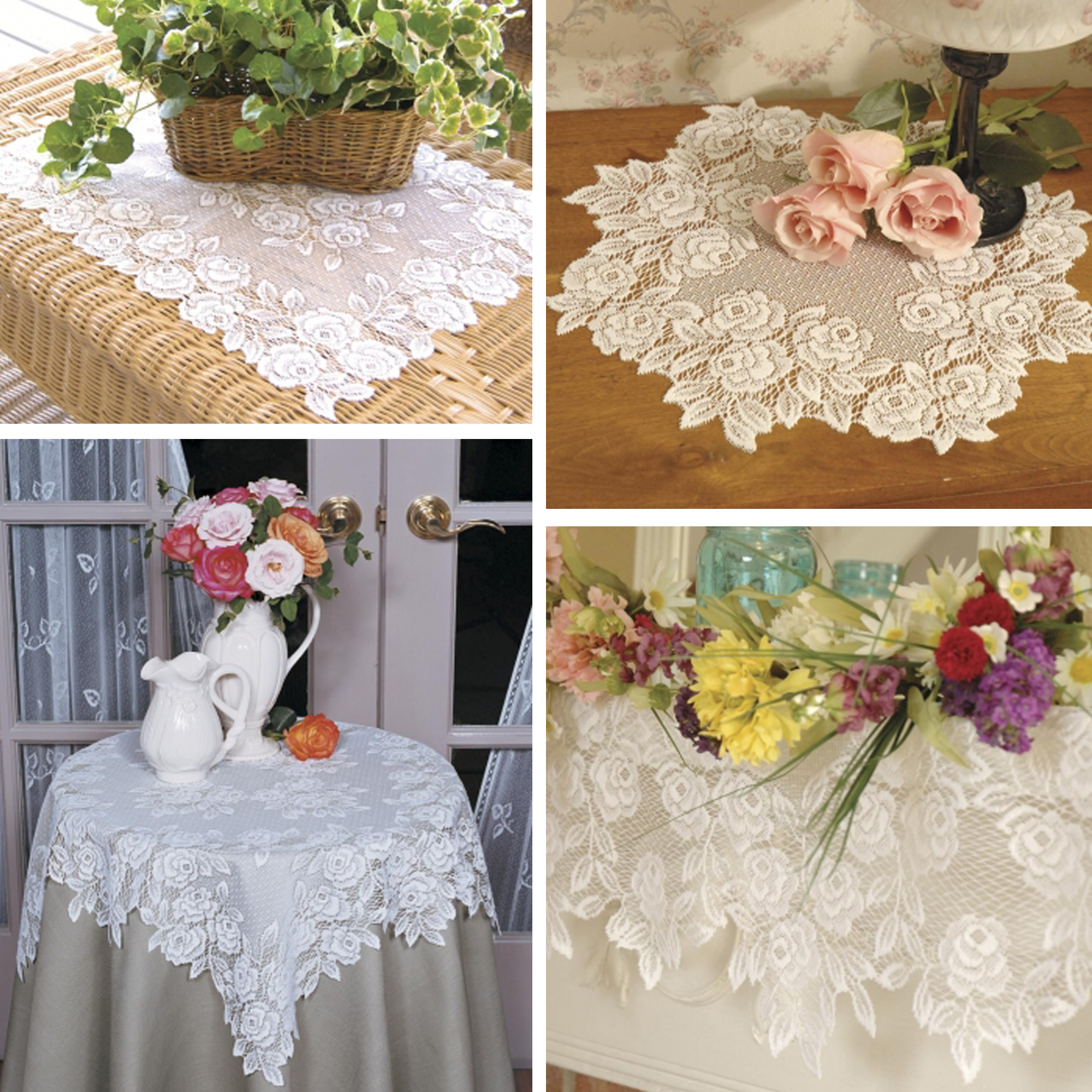 Tea Rose Lace Table Toppers By Heritage Lace Bedbathhome Com