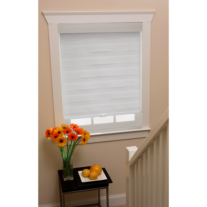 Cordless Celestial Sheer Double Layered White Window Shade