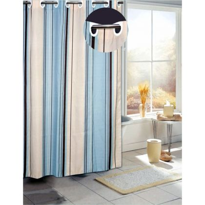 EZ On Grommet Blue Stripe Fabric Shower Curtain