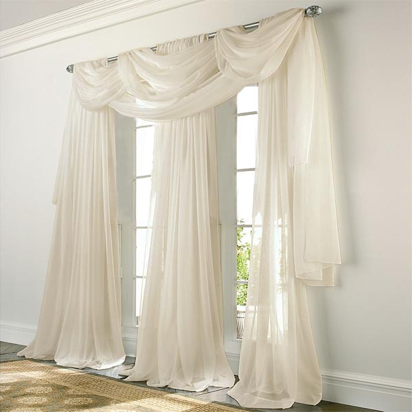 Sheer Curtains beige sheer curtains : Elegance Voile BEIGE Sheer Curtain: BedBathHome.Com