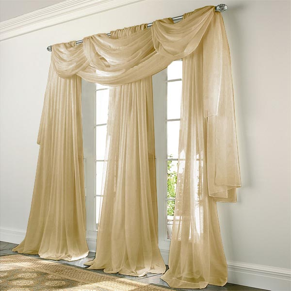 Elegance Voile BISQUE Sheer Curtain BedBathHomeCom