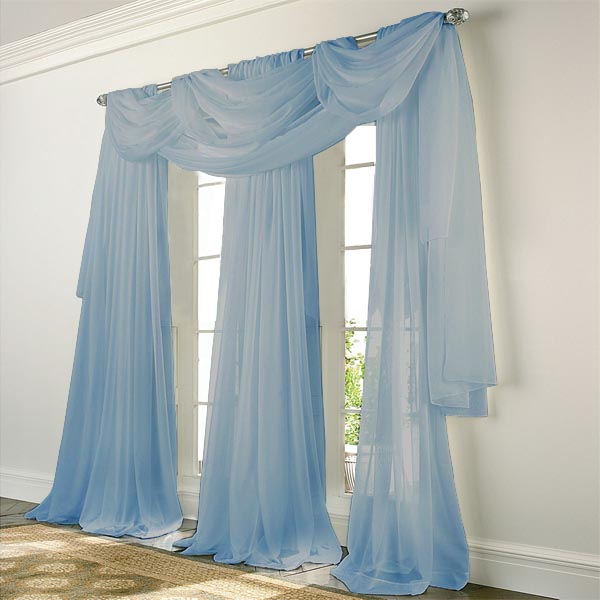 Elegance Voile BLUE Sheer Curtain: BedBathHome.Com