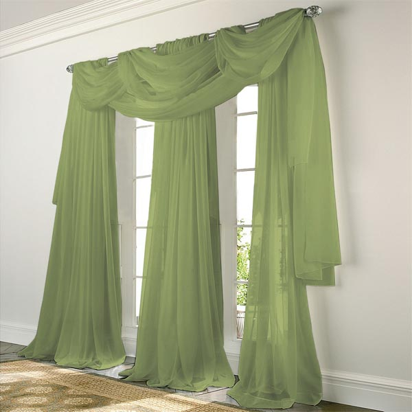 Elegance Voile SAGE GREEN Sheer Curtain