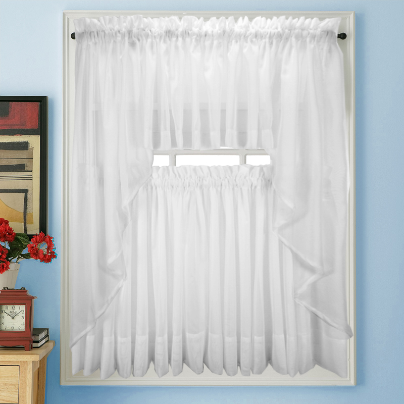 Sheer Tier Curtains Elegance Voile White Sheer Tier