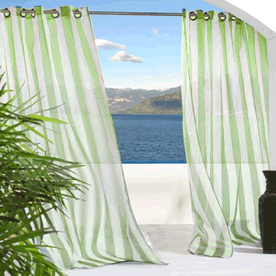 Green Escape Stripe Grommet Top Indoor Outdoor Curtain Panel