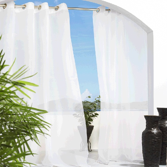 Escape Outdoor Sheer Curtains White Outdoor Sheer Drapes
