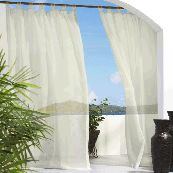 Ivory Escape Sheer Tab Top Indoor Outdoor Curtain Panel