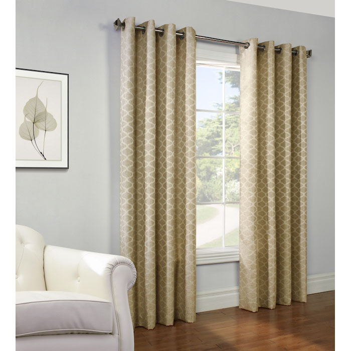 Gladys Jacquard Grommet Curtain Panel In Gold Altmeyer S