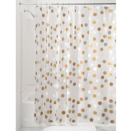 InterDesignR Metallic Gilly Dot PEVA Shower Curtain
