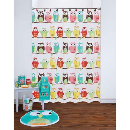 owl shower curtain and bath accessories by saturday knight ltd