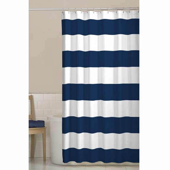 Superbe Maytex Porter Navy Blue Stripes Fabric Shower Curtain