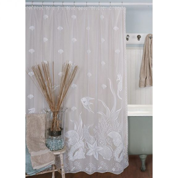 Heritage Lace Seascape Lace Shower Curtain
