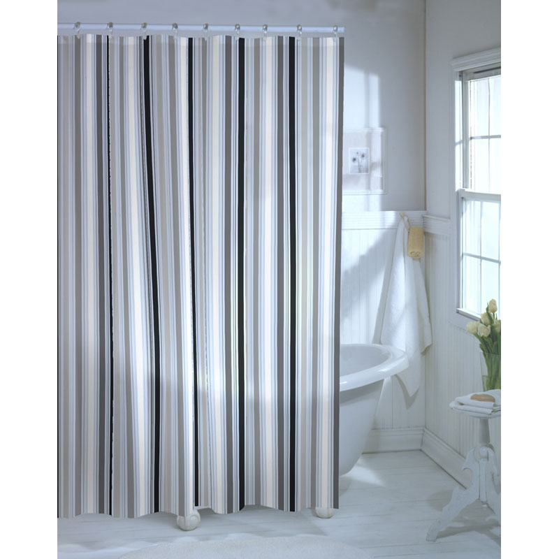 Black and white horizontal striped shower curtains Bold black and white striped curtains
