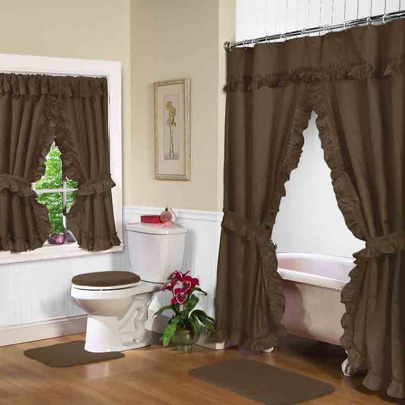 Chocolate double swag shower curtain Bathroom shower curtain ideas