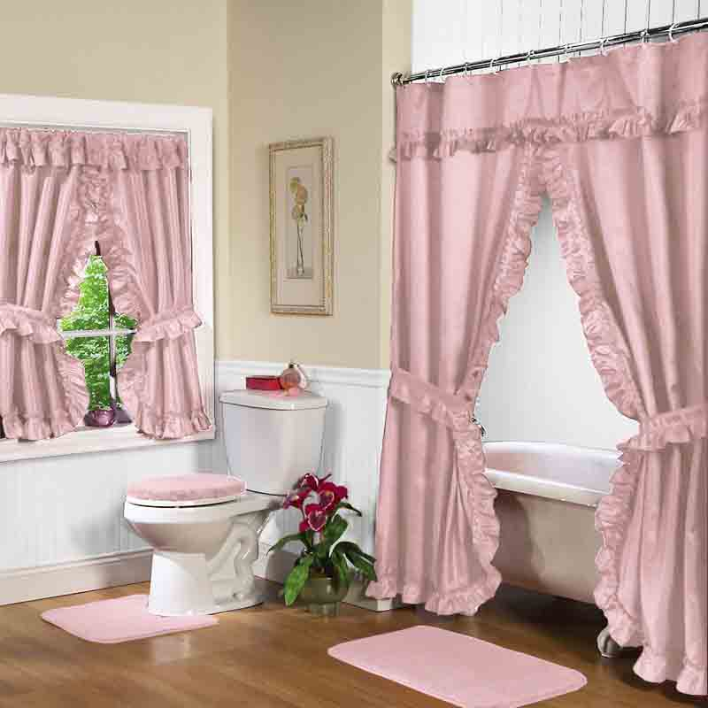 Rose Swag Shower Curtain w. available window curtain