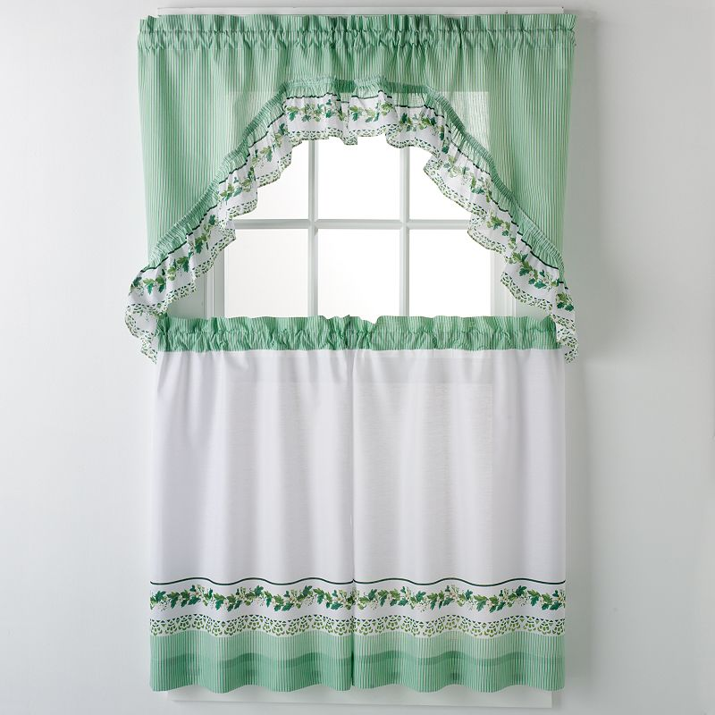 United Curtain Co. Ivy 3 Piece Valance and Tier Set