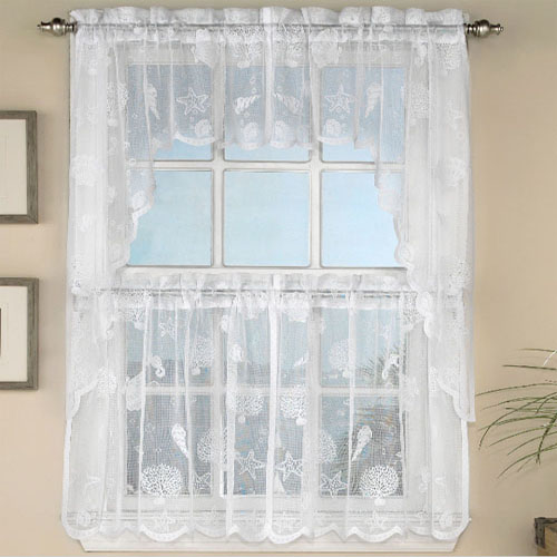 White Lace Nautical Reef Tier Curtain