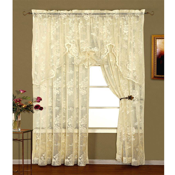 Abbey Rose Ivory Floral Lace Curtain Bedbathhome Com