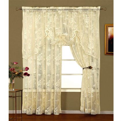 abbey rose ivory floral lace curtain