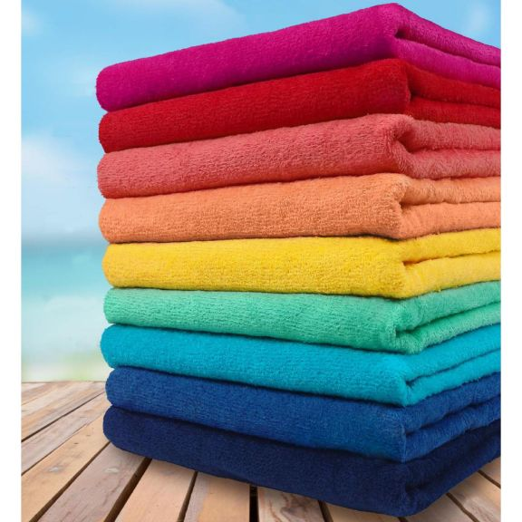 Bulk Case Velour 30 X 60 Solid Color Beach Towel 24 Pack