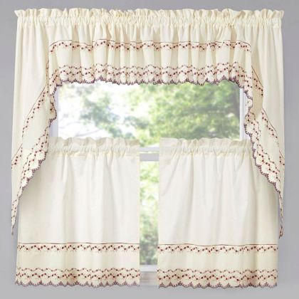 beverly embroidered floral kitchen curtain