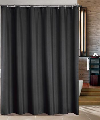 black double swag shower curtain