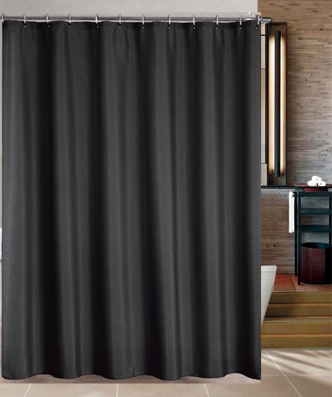 Maytex Water Repellent Fabric Shower Curtain or Liner in Black ...